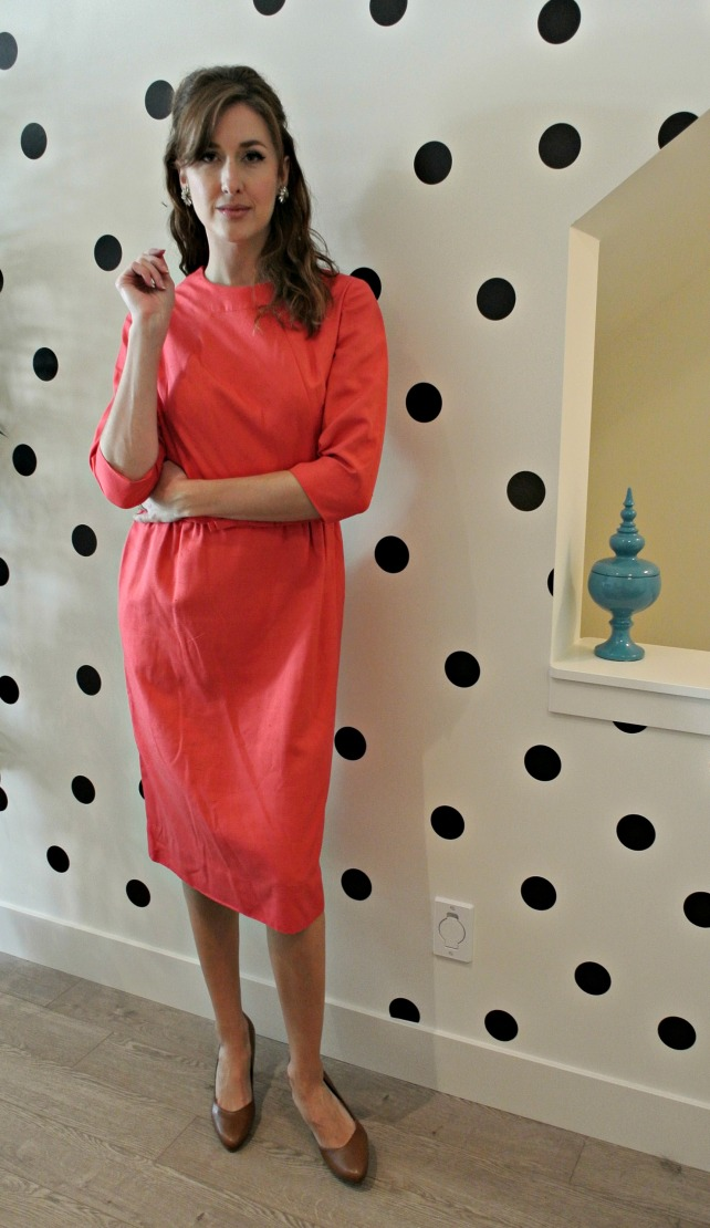 coral silk dress 1