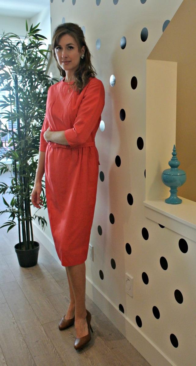 coral silk dress 2