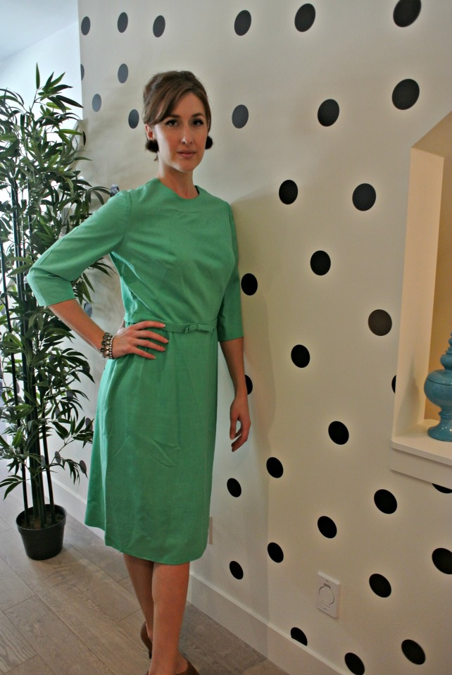 green silk dress 1